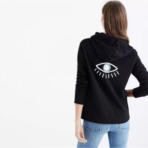 NWOT Madewell Embroidered Evil Eye Black Hoodie